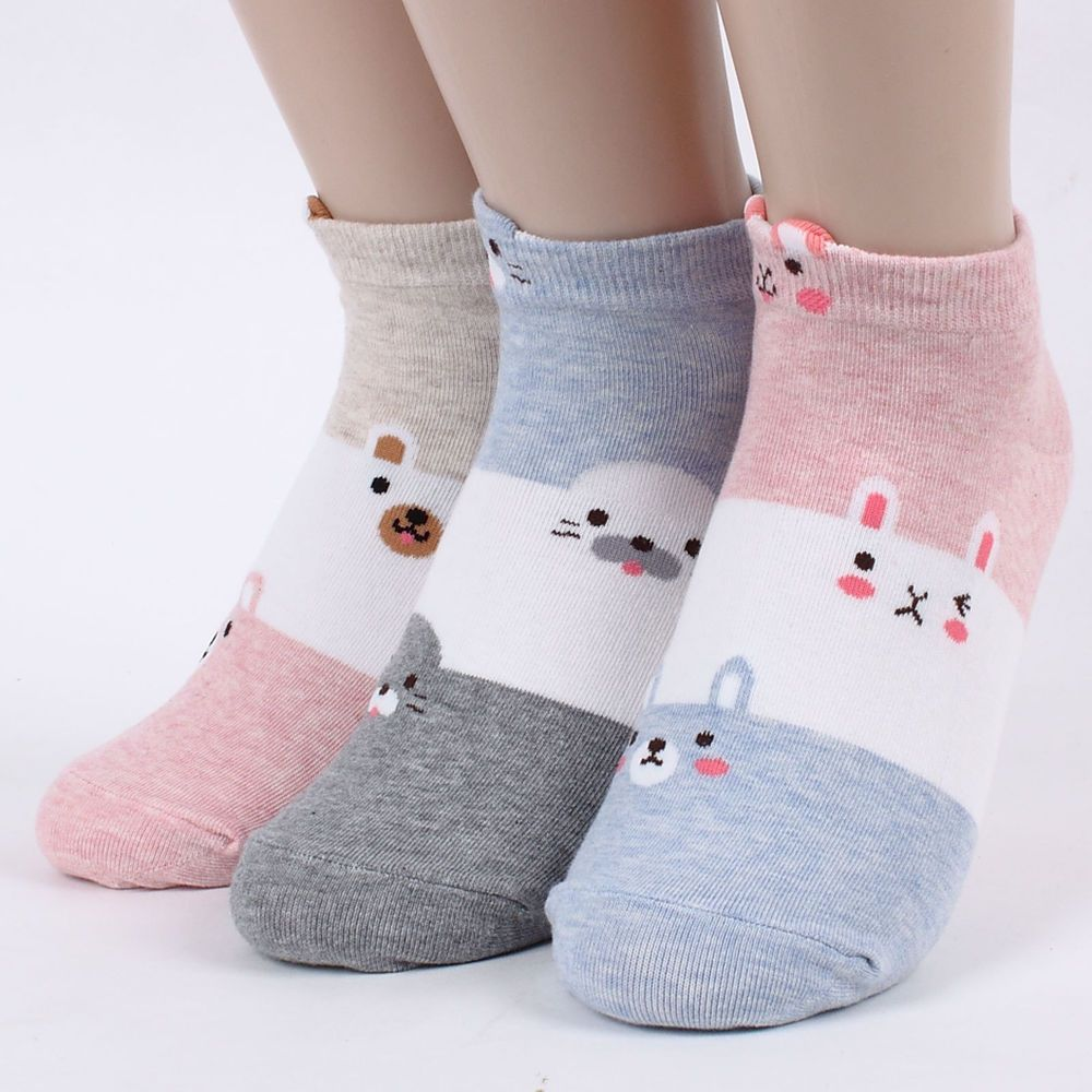 4 Pairs Penguin Friends Character Socks Girls Women Big Kids Cute Cartoon Socks
