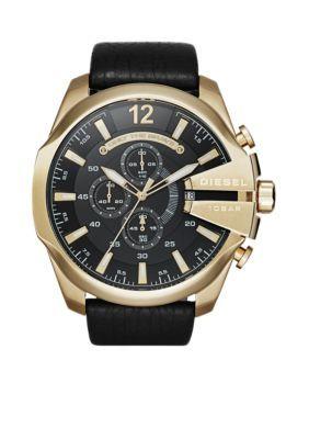 e1aeccba4f75 Diesel Men s Mega Chief Black Leather Chronograph Watch - - No Size