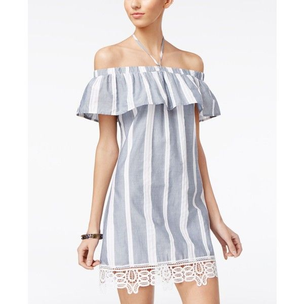 c46255ac3b538 Trixxi Juniors' Off-The-Shoulder Shift Dress ($20) ❤ liked on Polyvore  featuring dresses, striped off the shoulder dress, off shoulder denim dress,  off the ...