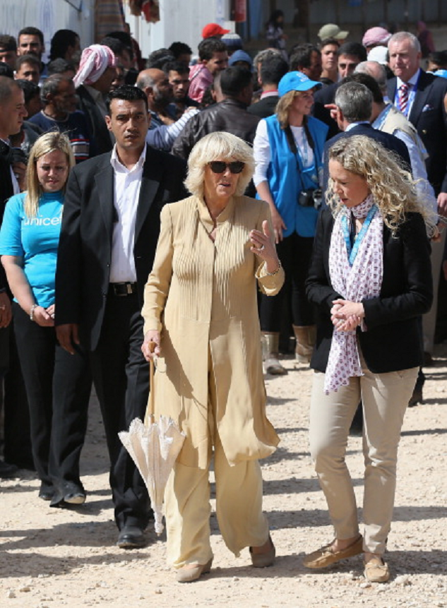 Camilla, Duchess of Cornwall visits the King Abdullah Refugee Camp for Syrian refugees on 13 Mar 2013 in Amman
