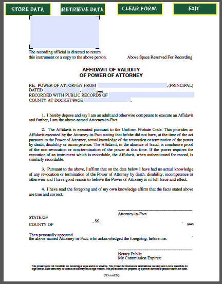 power of attorney form expiration date  Affidavit of Validity of Power of Attorney | Power of ...