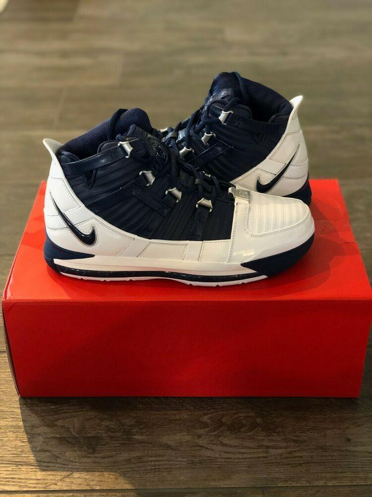 c5077db36ab 2019 Nike Zoom Lebron III 3 QS White Midnight Navy AO2434-103 Size 9 ...
