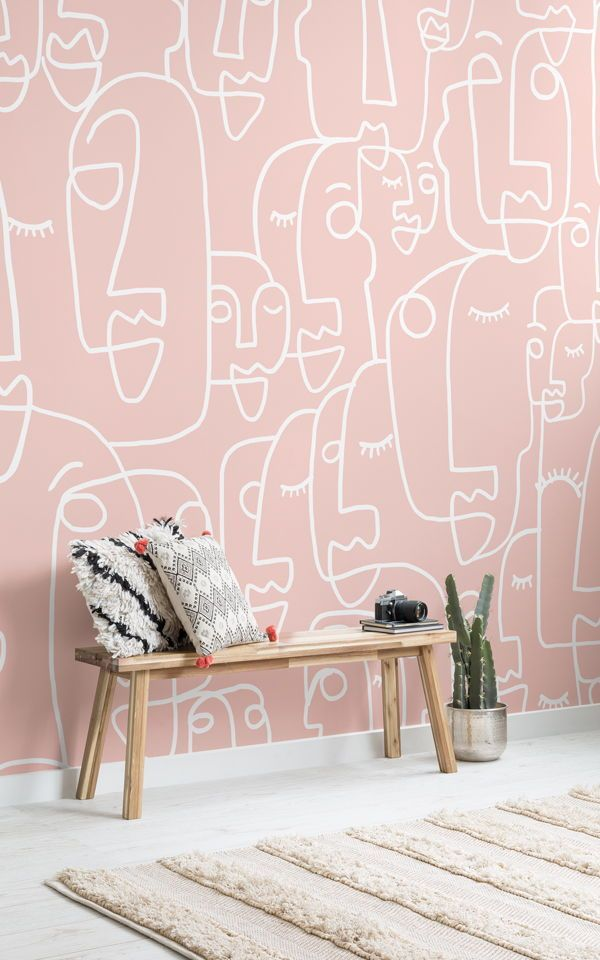 Large Dusty Pink Face Drawing Wallpaper Mural In 2019
