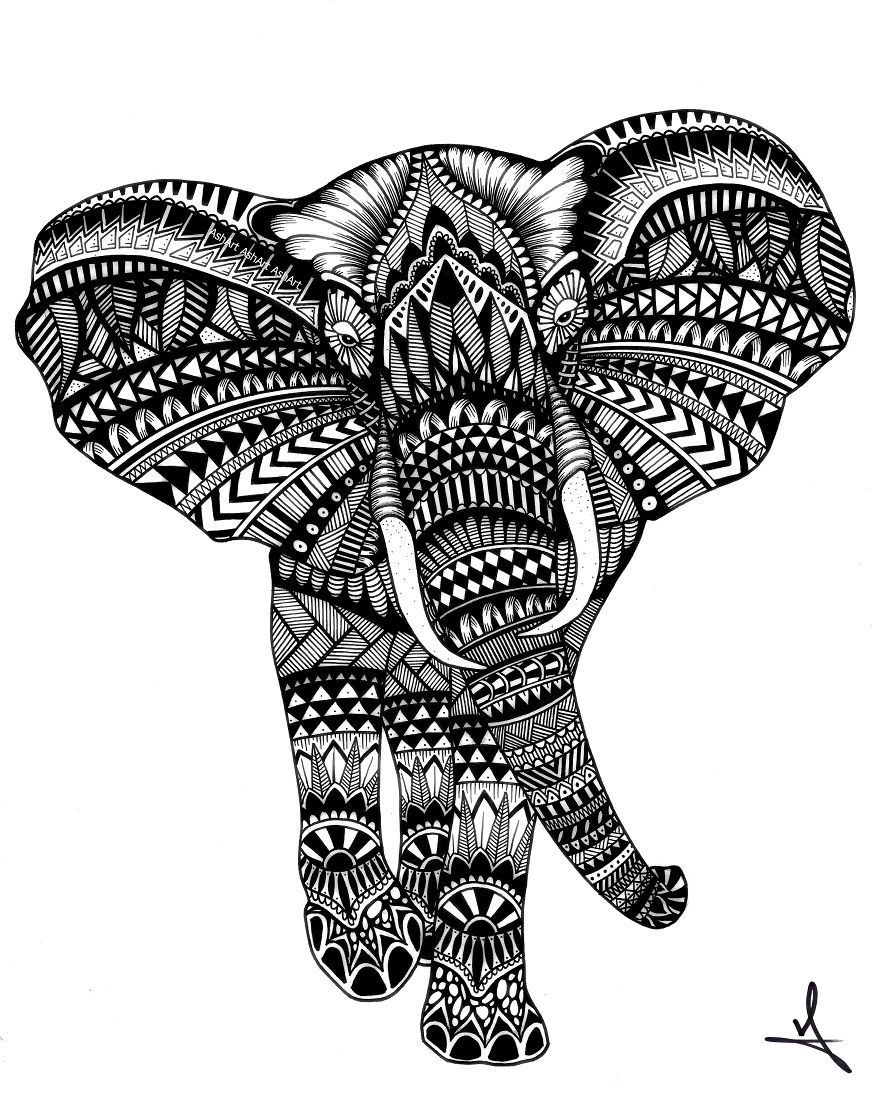 I spend hours creating intricate marker drawings of - Mandala animal ...