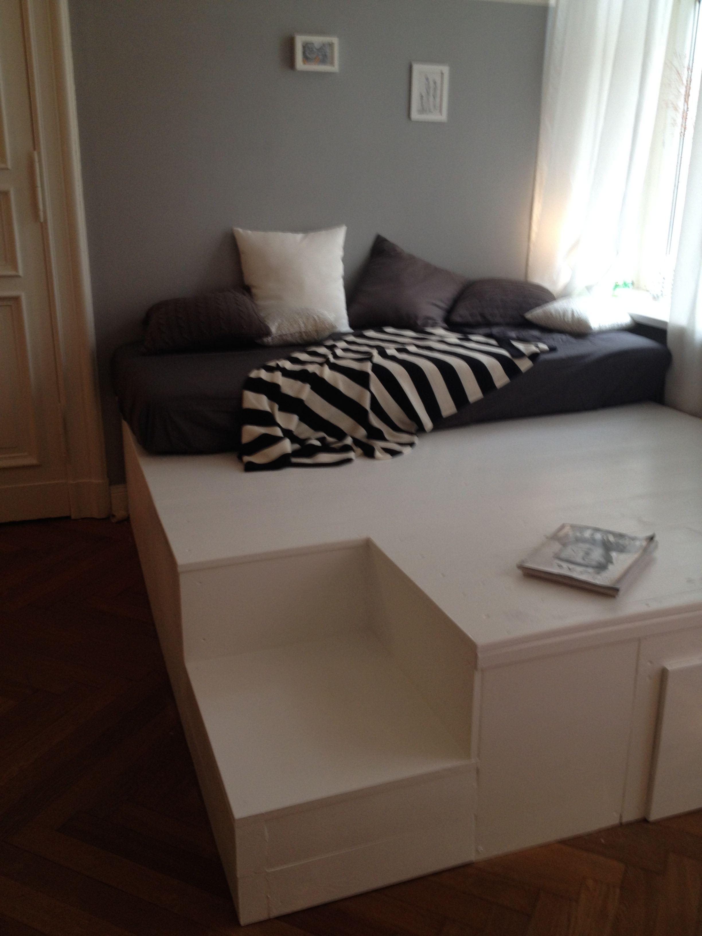 diy podest my home pinterest podest bett und betten. Black Bedroom Furniture Sets. Home Design Ideas