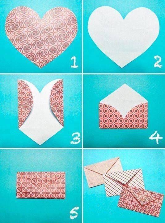 Herz Ausschneiden Briefumschlag Falten Papier Pinterest