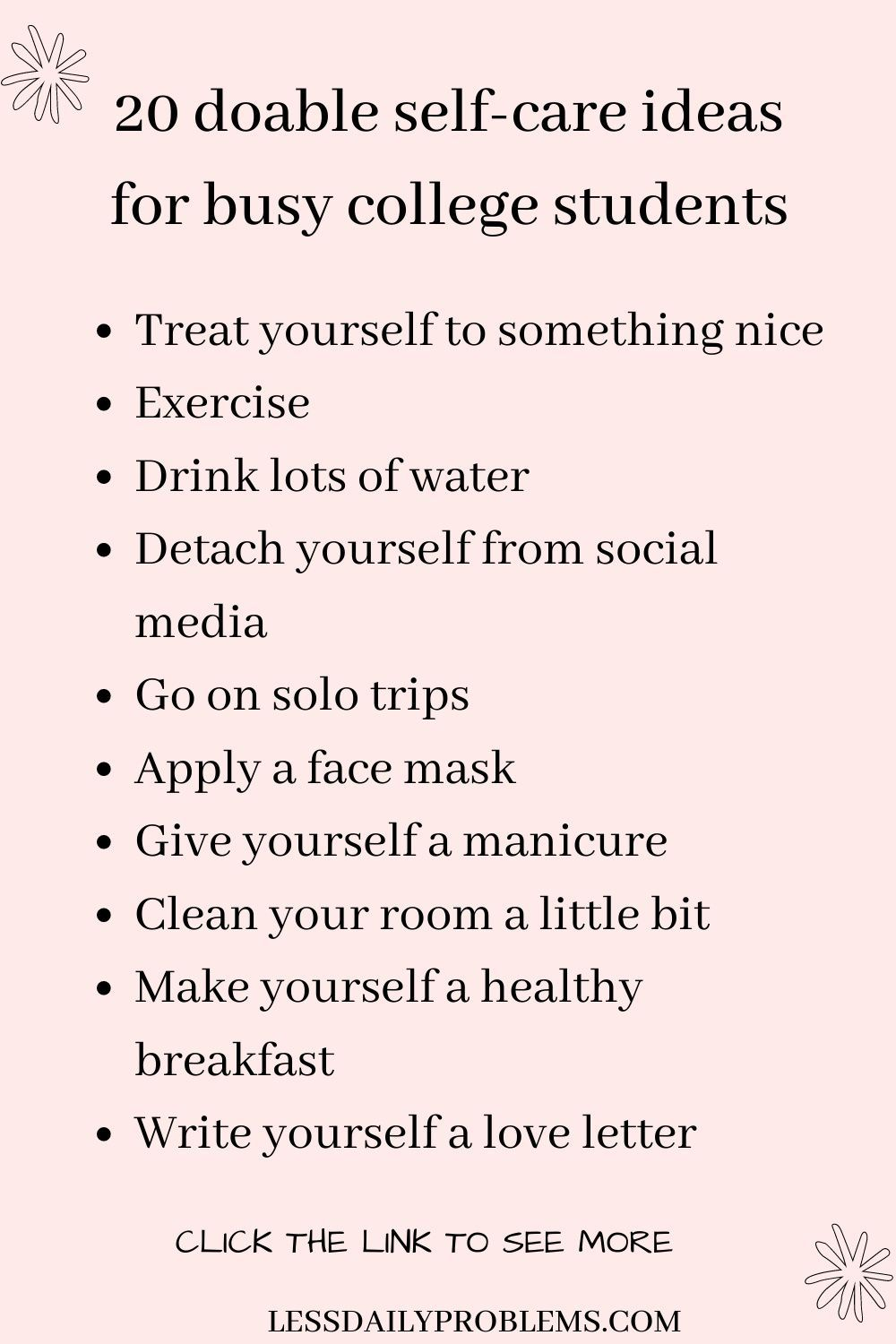 20 Self-care ideas for college students