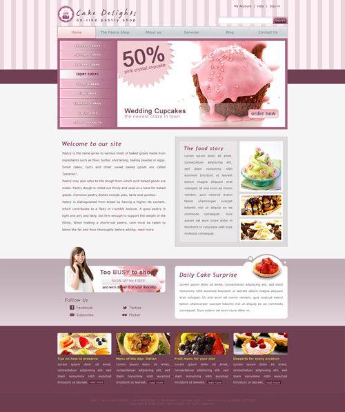 Cake Website Template | Free PSD Templates | Pinterest | Template ...