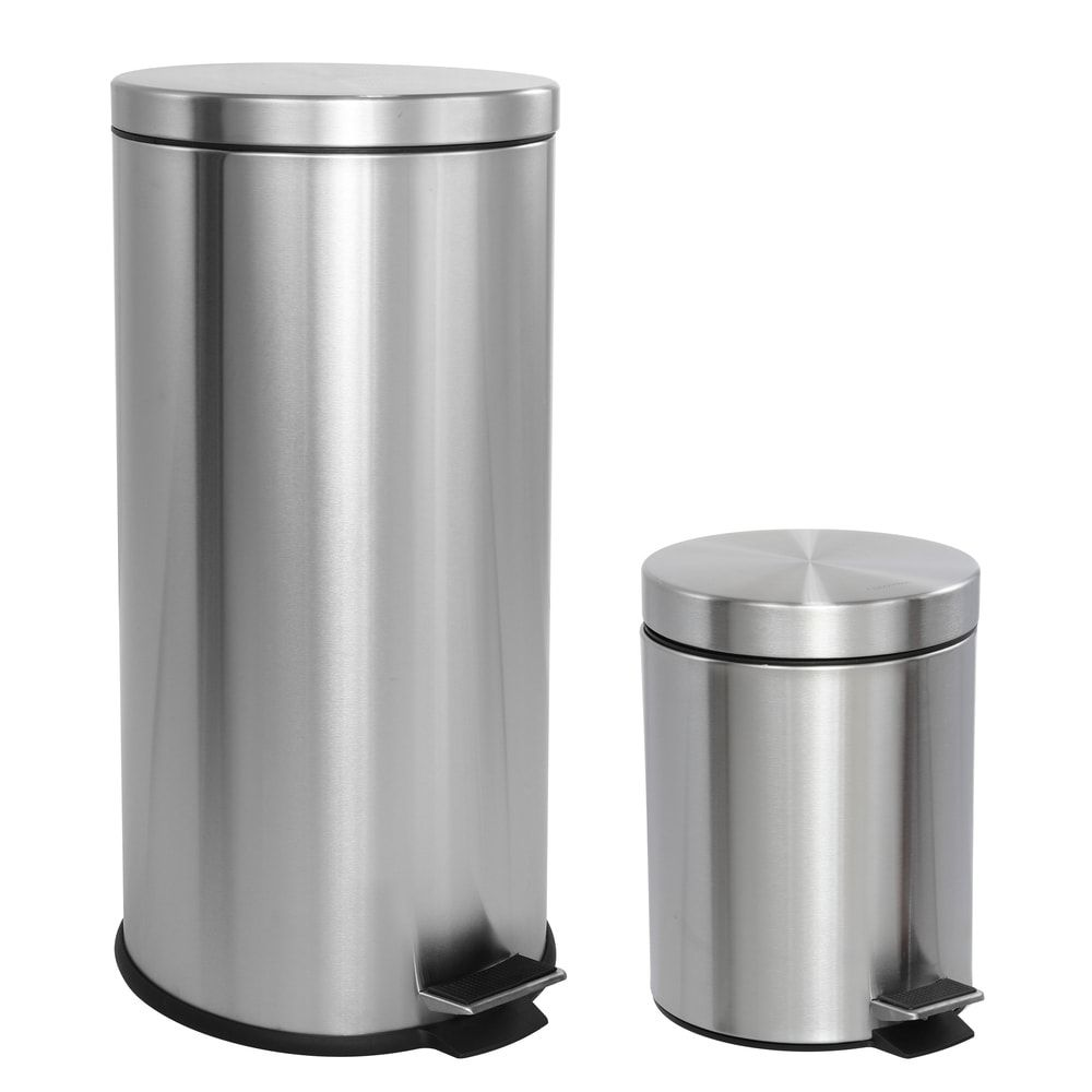 Stylewell 13 Gal Stainless Steel D Shaped Step On Trashcan Silver In 2021 Kitchen Storage Kitchens Luxury Garbage Can Storage