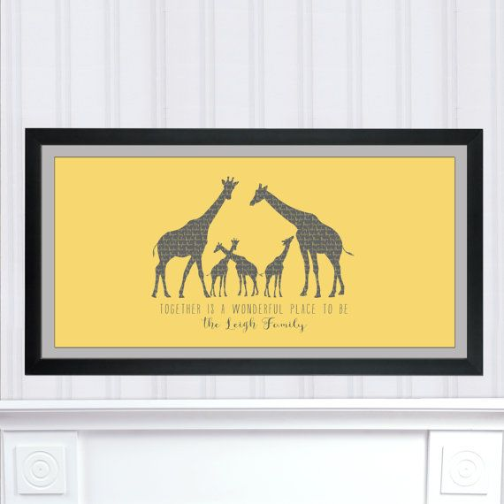 Personalized Christmas Gift, Giraffe Family Art Print, Giraffe ...