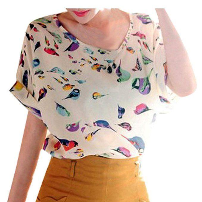 VOBAGA Women's Bird Heart Geometric Print Short Sleeve Chiffon Top T-shirt  Blouses at Amazon Women's Clothing store: Heart Print Blouse