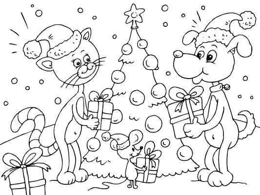 Cat Dog And Mouse Celebrating Christmas Find Lots More Fun Christmas Coloring Pages A Free Christmas Coloring Pages Christmas Coloring Pages Coloring Pages
