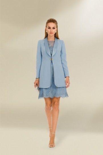 Completo azzurro di Luisa Spagnoli Skirt, pants suit Pinterest