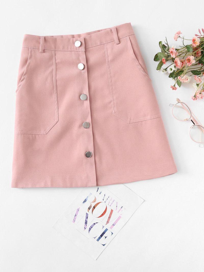 5a058a8b03 Single Breasted Dual Pocket SkirtFor Women-romwe Rebajas Verano