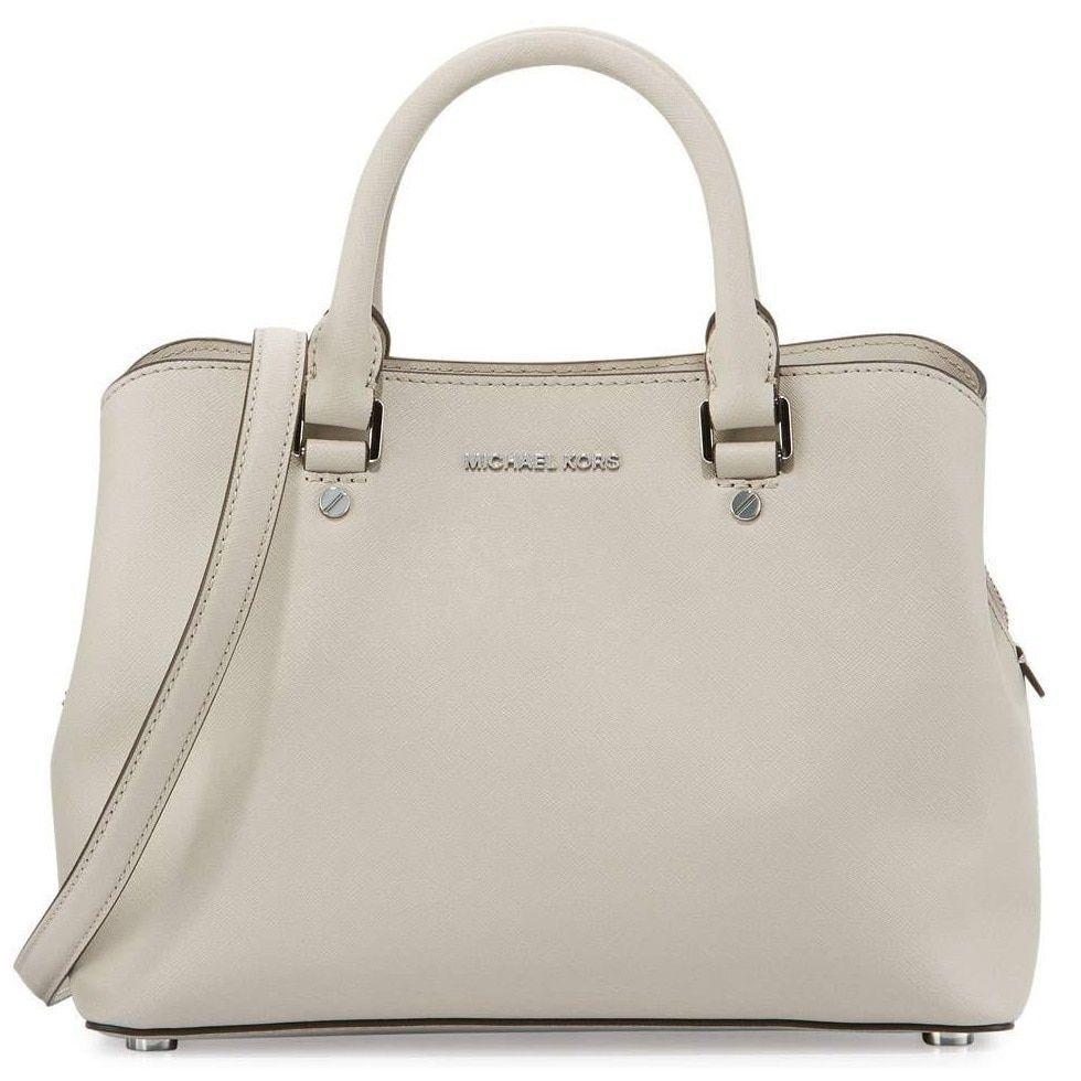 0691a4a6b12f Michael Kors Small Savannah Cement Satchel Handbag