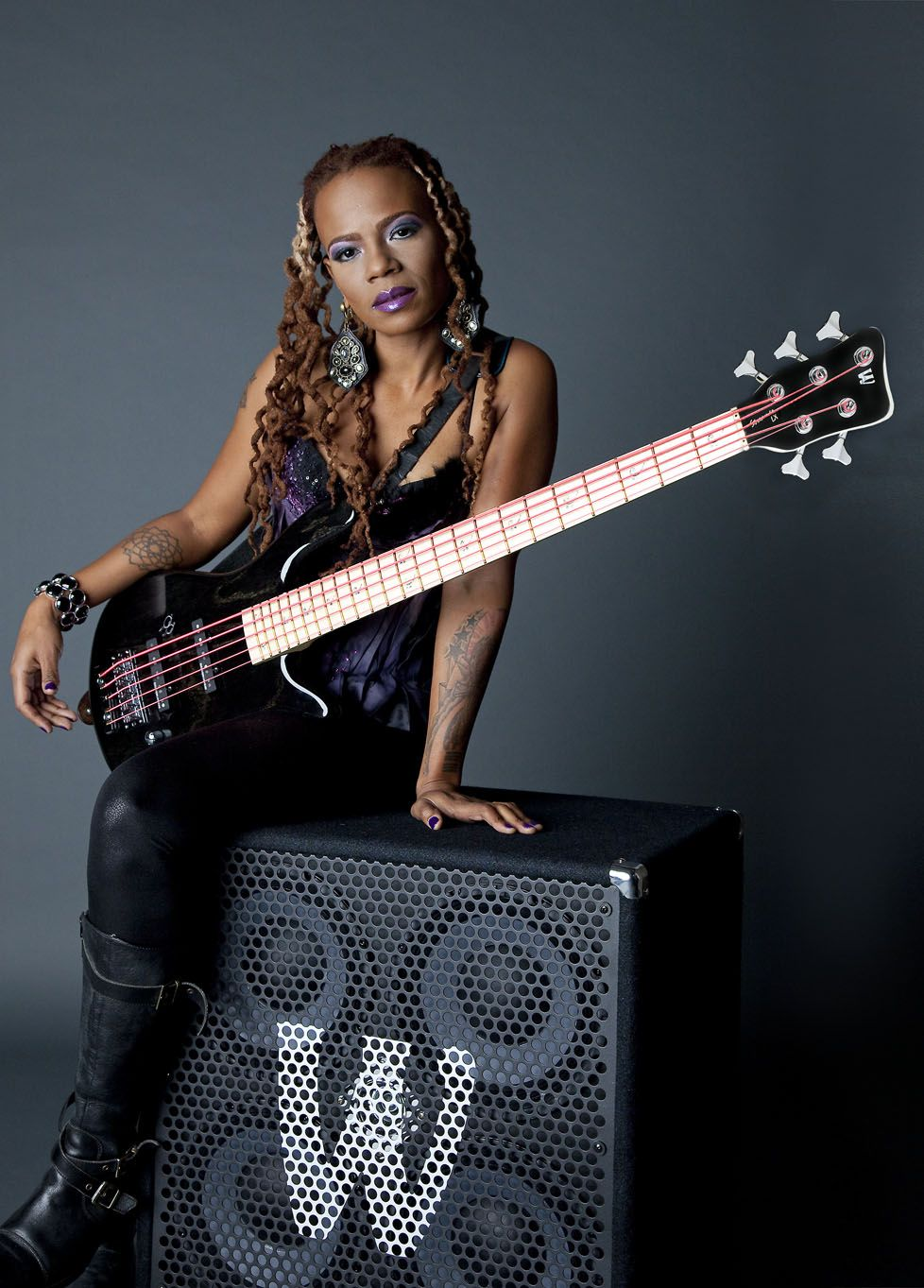 nude women with bass guitar