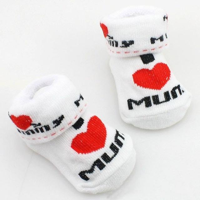 Baby Infant Boy Girl Slip-resistant Floor Sock Love Mama Papa Letter Stripe Sock