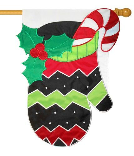 Christmas Mitten Sculpted Applique House Flag House Flags Christmas Flag Christmas House