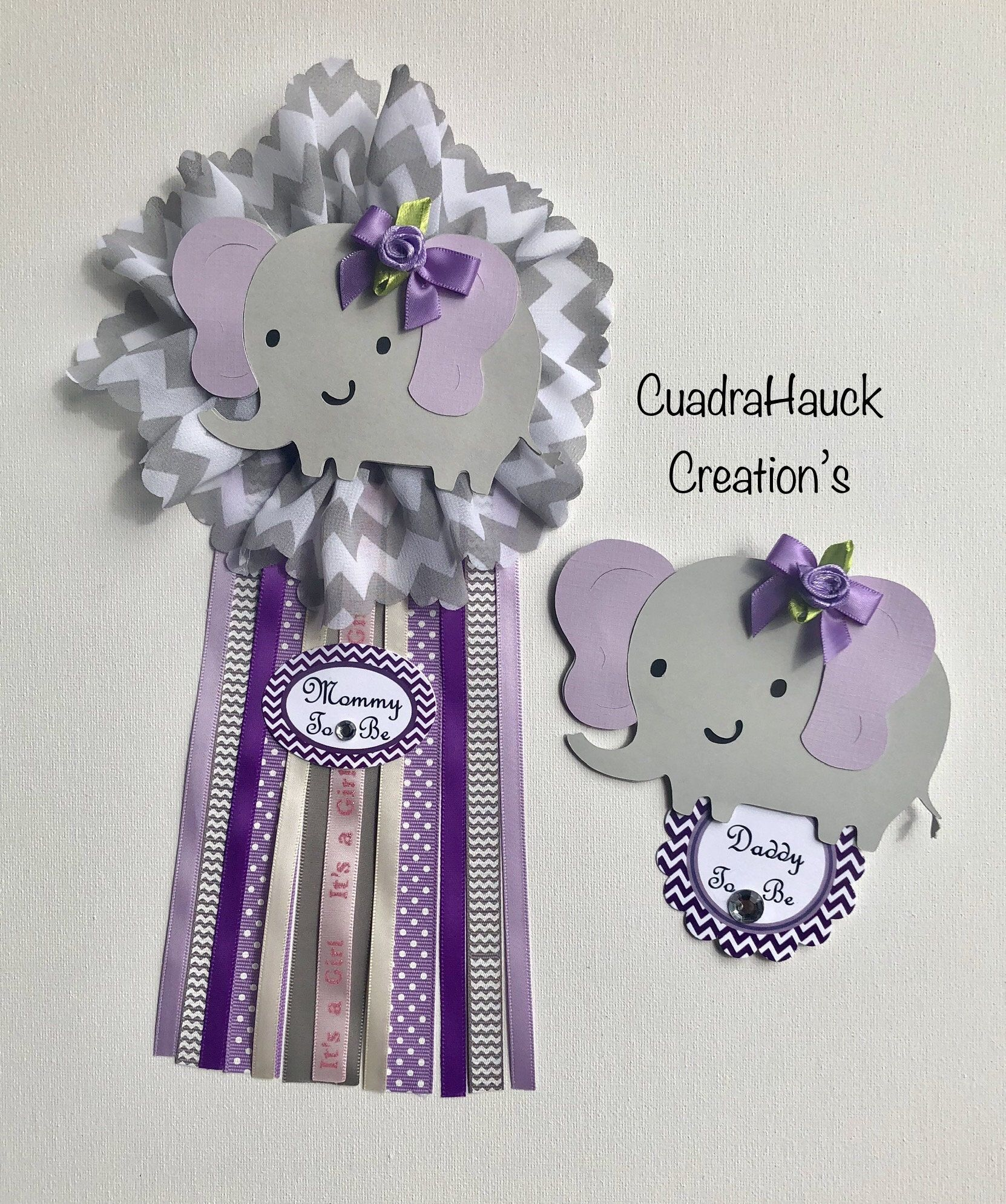 Elephant Lavender And Gray Baby Shower Corsage Elephant Lavender