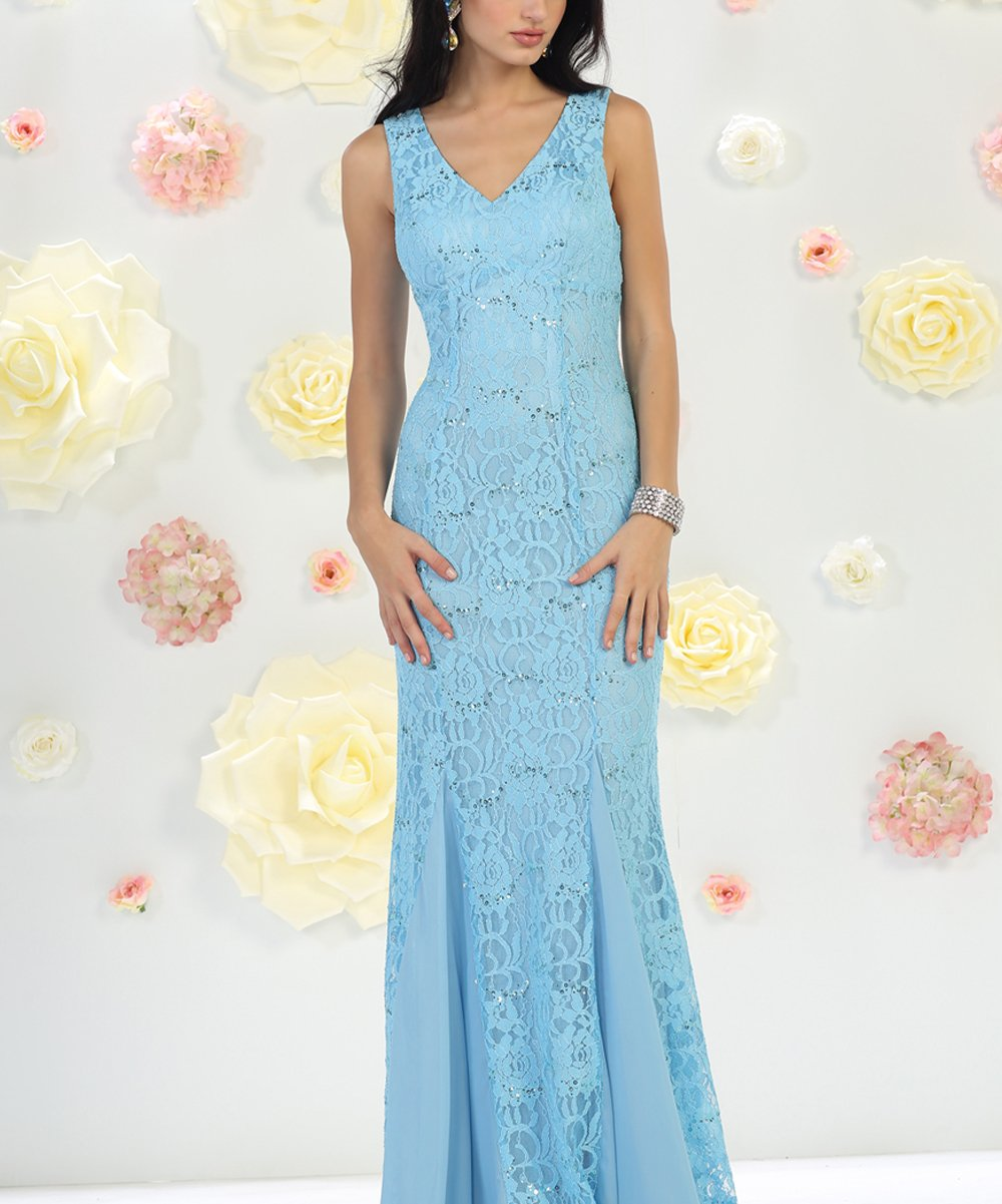 Mayqueen Periwinkle Sequined Lace V Neck Illusion Gown Women Best Price And Reviews Zulily Formal Dresses Long Plus Size Long Dresses Bride Dress Lace [ png ]