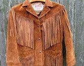 Thanksgiving Sale Vintage Fringe Leather Jacket, Size