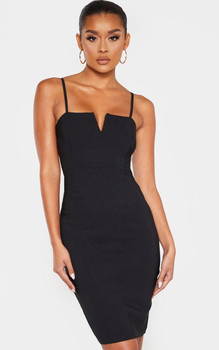 Black Woven V Detail Strappy Midi Dress Prettylittlething Usa Strappy Midi Dress Midi Dress Little Black Dress [ 1180 x 740 Pixel ]