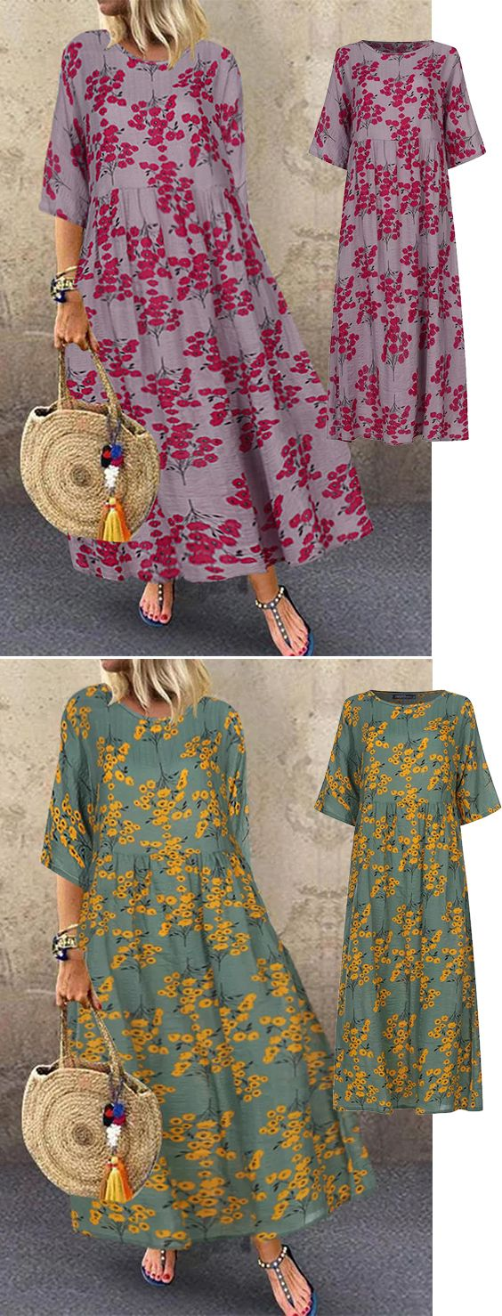Photo of !! 70% OFF !! Women 3/4 Sleeve O-neck Floral Maxi Dress