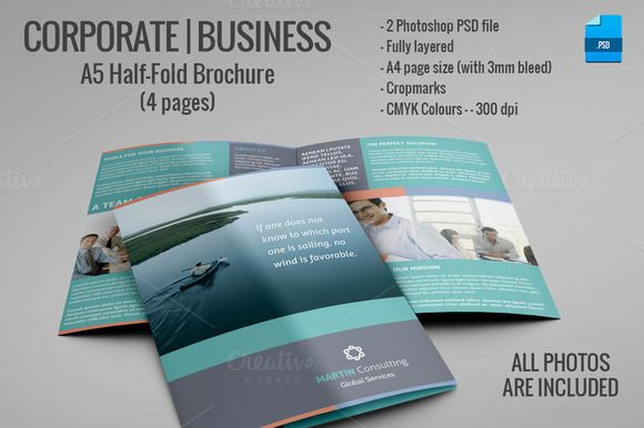 A5 Half-Fold Brochure (4 pages) Brochures, Business brochure and - half fold brochure template