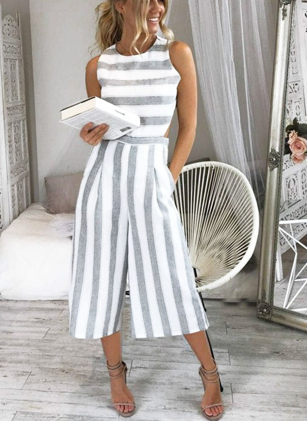 56bf69c707ed Women s Fashion Sleeveless Striped Backless Strappy Wide Leg ...