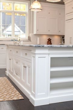 Cabinet toe kick style, flush cabinet doors/drawers, top of upper ...