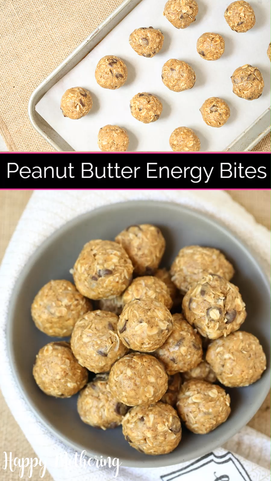 No Bake Peanut Butter Energy Bites Are you looking for an easy peanut butter energy bites recipe for your family? This gluten free no bake snack is simple, delicious and always a hit! These healthy power balls only have 7 ingredients, including oatmeal, coconut, chocolate, flax seed, peanut butter, coconut sugar and honey. Watch the video with step by step instructions at happy-.