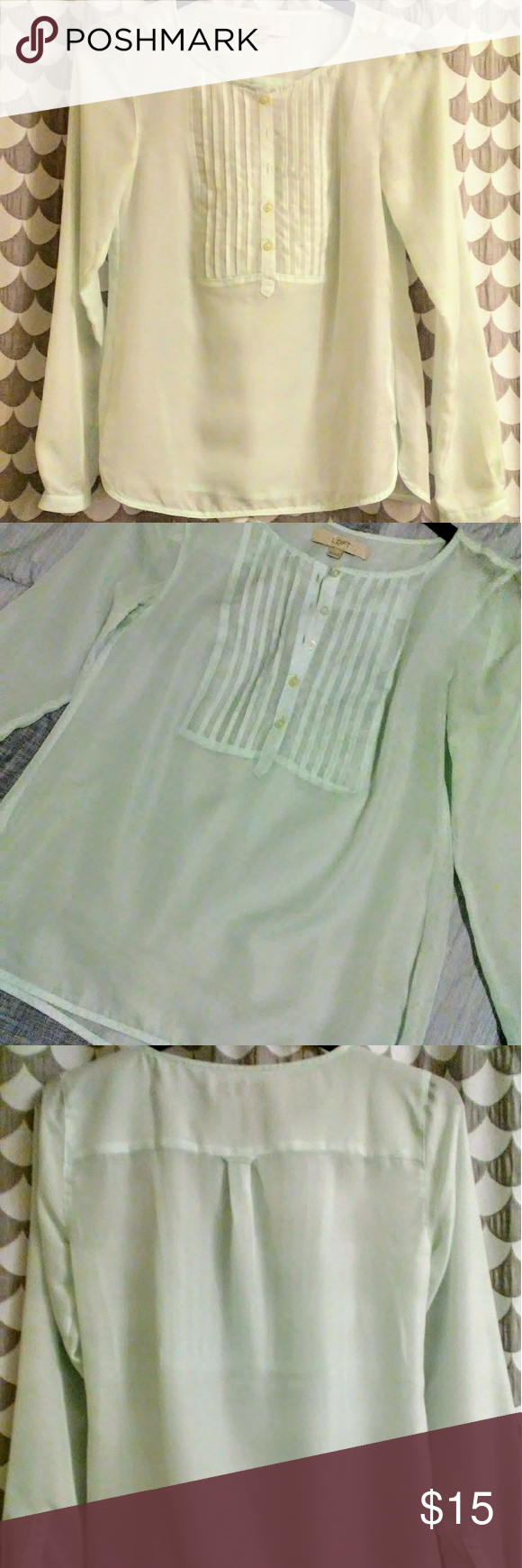 892ac191cc97b4 Ann Taylor LOFT Woman s top Mint green beautiful light weight see through  blouse! Pre owned but in good and clean condition! Five button front design.