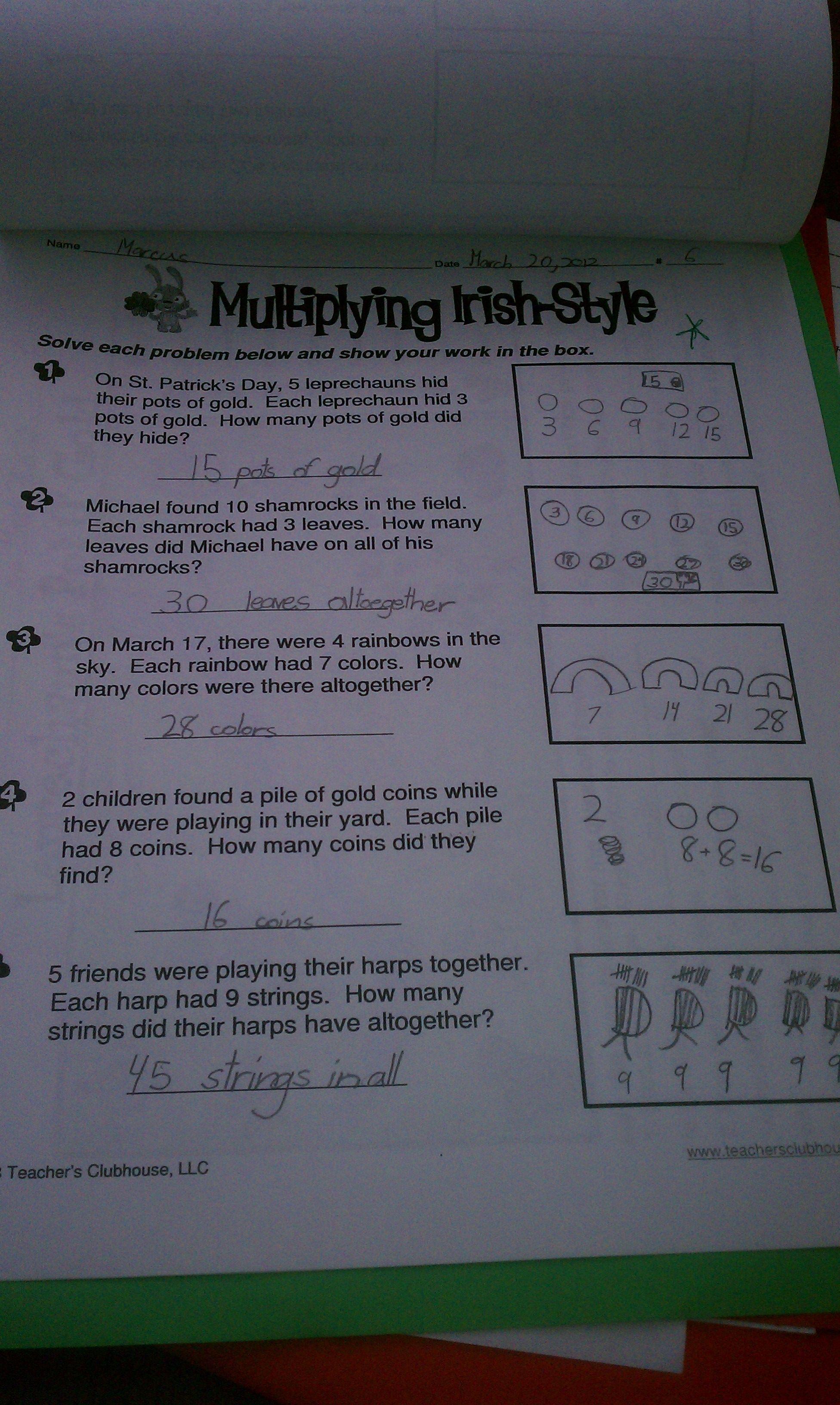 Multiplication St Patrick S Day 2nd Grade