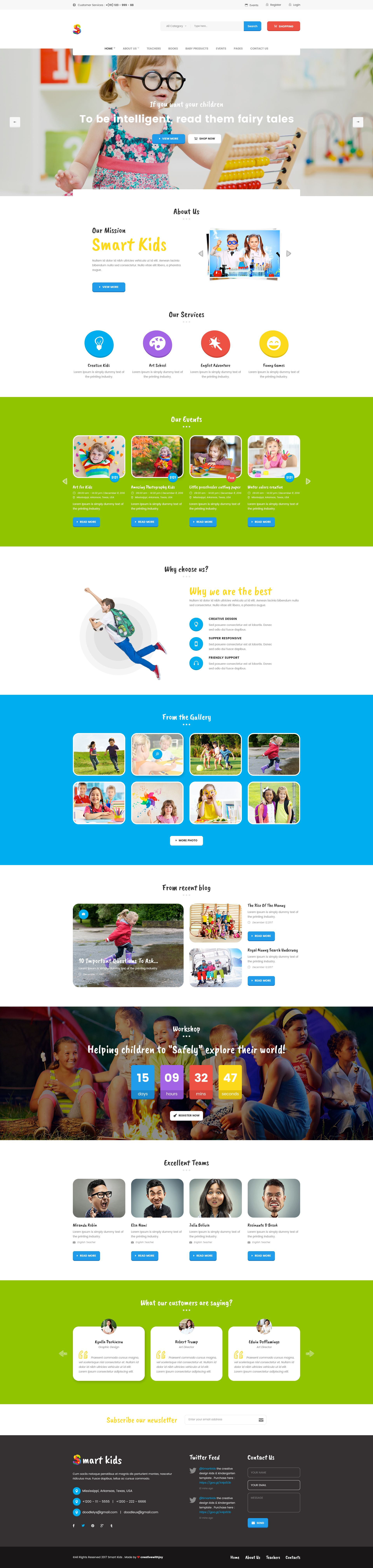 Smart Kids - Multipopurse Creative Kids Kindergarten PSD Template | Kita
