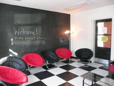 The chalkboard wall great for praises prayers announcements etc