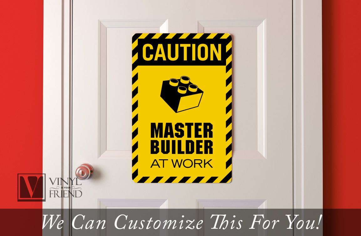 CAUTION Master Builder at work brick builder wall decor acrylic back ...