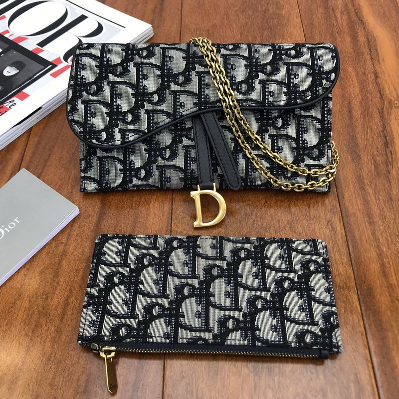 Dior Saddle Wallet On Chain Bag Woc In Blue Dior Oblique Jacquard Canvas Dior Saddle Bag Chain Bags Bags