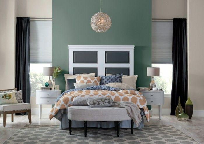 Wandgestaltung Schlafzimmer Farbe : Wohntrends wandfarbe pastellgrün wanddekoration