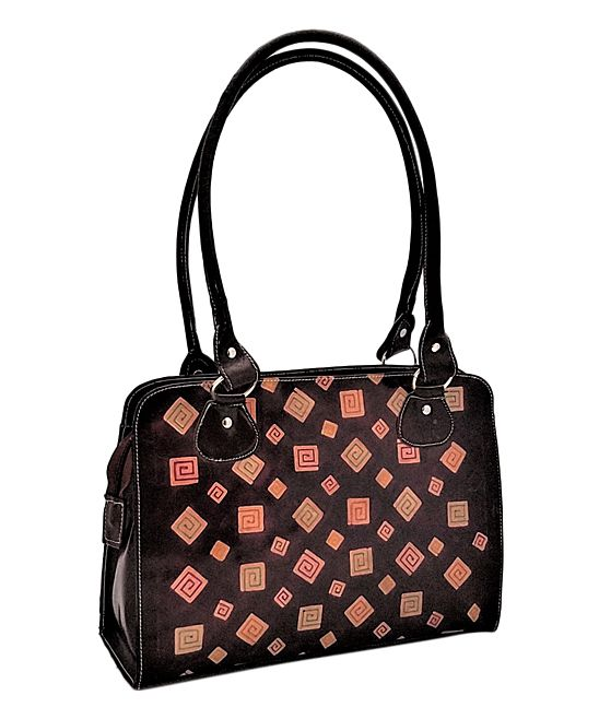 Brown Squares Hand-Painted Leather Satchel