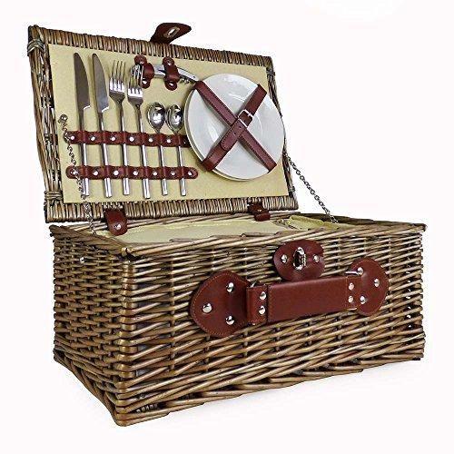 Creme Gefüttert 2 Personen Picknickkorb mit integriertem