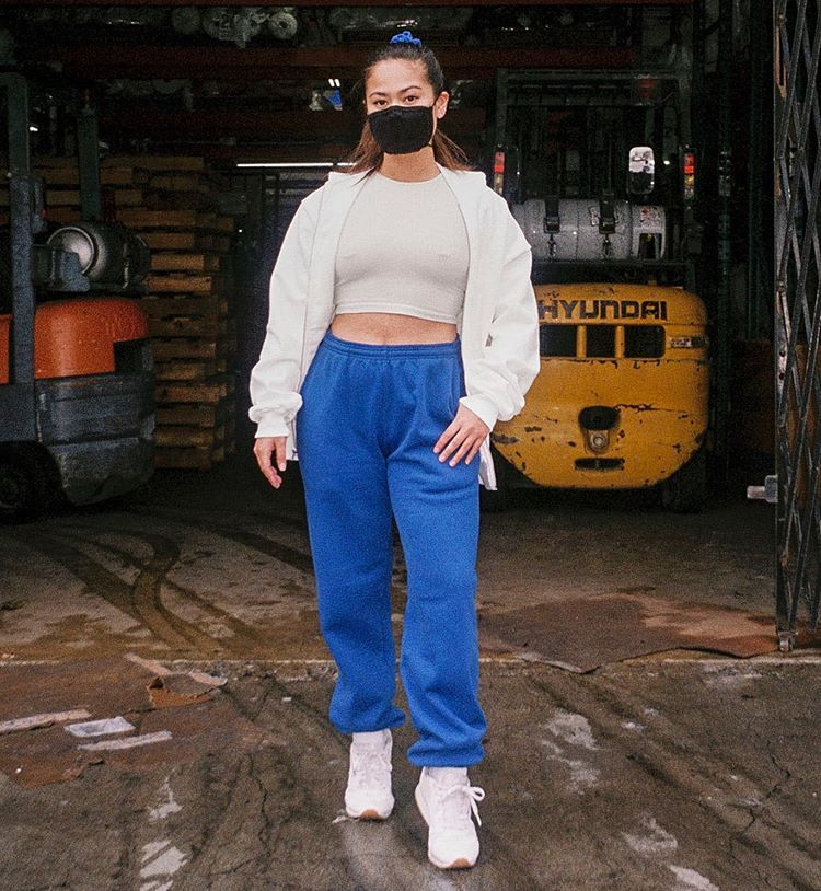 Los Angeles Apparel On Instagram Made In Usa That S Los Angeles Jade Is Shown Here In The Facemask3 The Hf04gd Ga In 2020 Blouse Outfit Tank Top Shirt Garment Dye