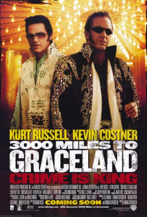 3000 Miles to Graceland 11x17 Movie Poster (2001). CAST: Kevin Costner, Kurt Russell, Christian Slater, Bokeem Woodbine, David Arquette, Courteney Cox Arquette, Kevin Pollak, Jon Lovitz, Howie Long, Thomas Haden Church, Ice-T, David Kaye, Louis Lombardi; DIRECTED BY: Demian Lichtenstein; WRITTEN BY: Demian Lichtenstein, Richard Recco; CINEMATOGRAPHY BY: David Franco; MUSIC BY: George S. Clinton; SOUND: Michael Williamson; EDITING: Michael J. Duthie, Miklos Wright; ART DIRECTION: Willie…