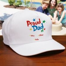 Proud Dad Personalized #FathersDay Hats. Personalized Father's Day Hat for Dad shows why he makes a great father. Help Dad celebrate Father's Day or any day by giving him a Personalized Proud Dad Hat. Makes a great Personalized New Dad Gift. Our Custom Printed Proud Dad premium white cotton/poly Hat with adjustable back strap for a one size fits all. Dad's Father's Day Hat includes free personalization! Make Father's Day extra special with this Personalized Father's Day Hat for Dad or…