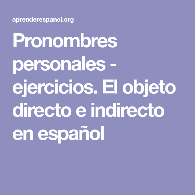 Quotes From A Christmas Carol About Poverty: Ejercicios. El Objeto Directo E
