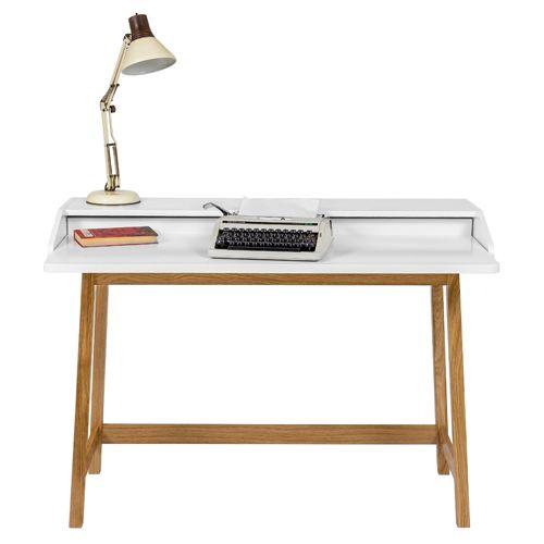bureau en chne massif laqu blanc saint james - Bureau Blanc Et Bois