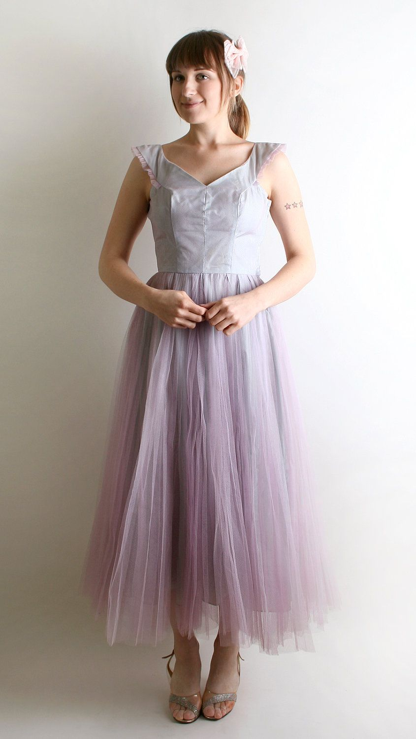 Reserved vintage prom dress lavender lilac tulle classic s