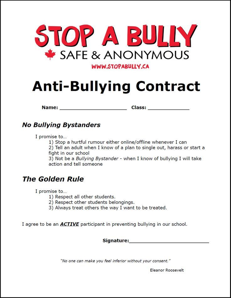 Example Of An AntiBullying Contract For Students  School