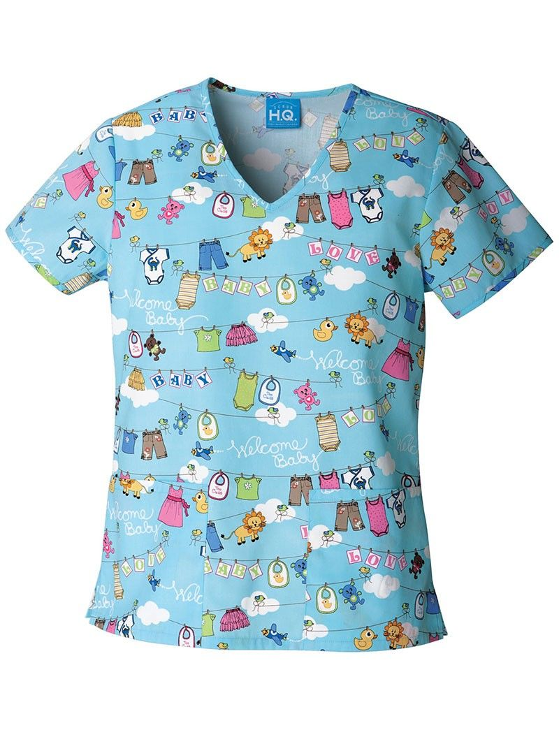 e0bfb04b097 Cherokee Scrub HQ Ooh Baby Baby V-Neck Print Scrub Top | Work Wear ...