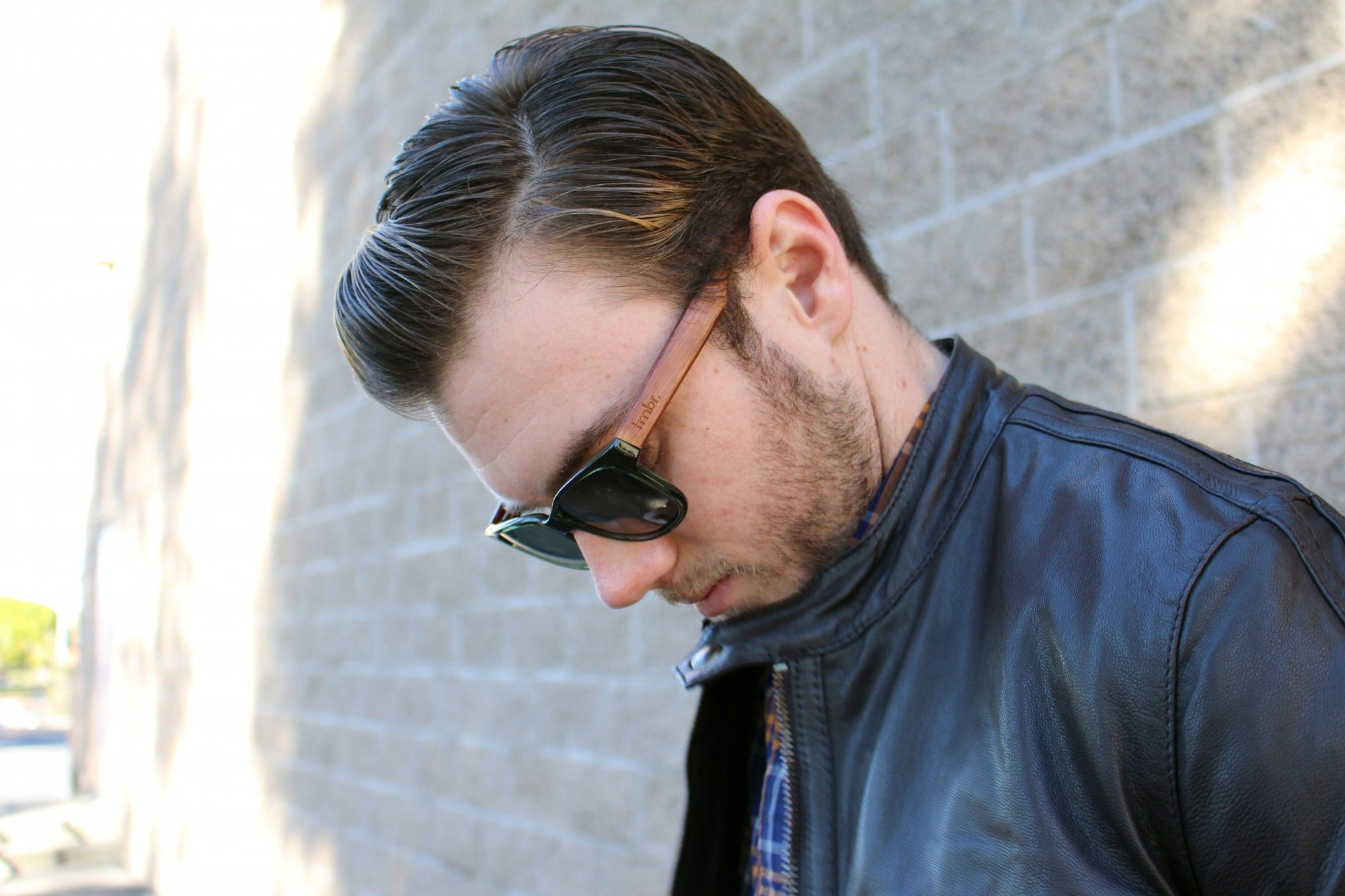 ASOS Leather Jacket and tmbr sunglasses