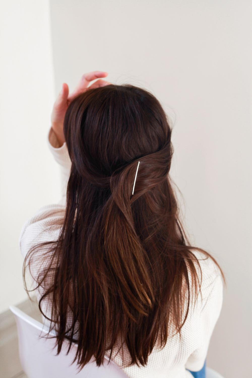 Half Up Bobby Pin Hair Tutorial Treasures Travels Bobby Pin Hairstyles Hair Styles Half Up Hair